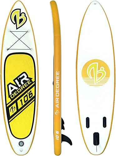 Air Degree Stand Up Paddle Board Inflatable 10 6 Long 32 Wide 5 Thick SUP Complete Package Includes Carrying Bag, Adjustable Paddle, Coil Leash, Pump,Water Phone Pouch