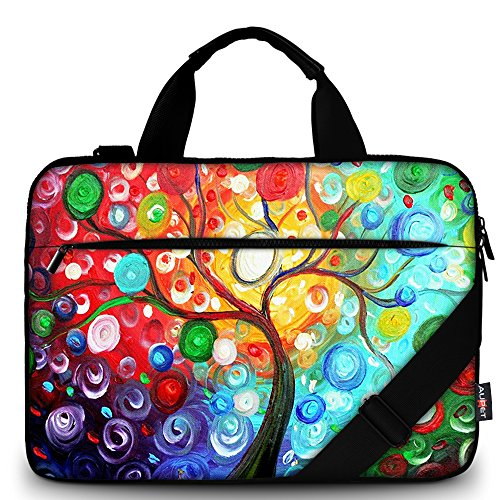 AUPET 17 17.1'' 17.5'' 17.6'' Laptop Bag Sleeve/Carrying Bag With Extra Pocket and Removable Shoulder Strap Messenger Bag Briefcase For 16/17/17.3/17.4 Laptop/Tablet (Colorful Tree) by AUPET