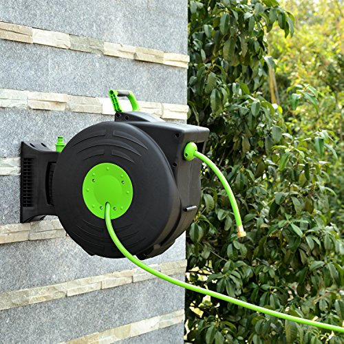 YeStar Plastic Garden Water Hose Reel with Retractable 83.4 Feet PVC Hoses & Brass Nozzles, Lightweight Hand Carried or Wall Mounted (Hose Air Plastic Reel)