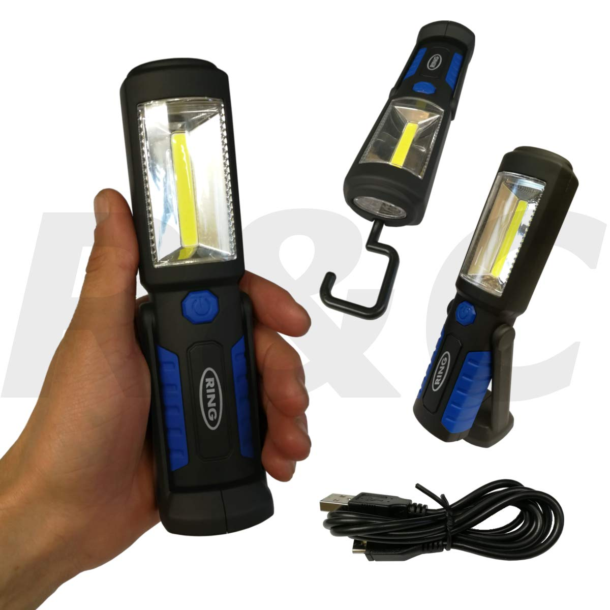 Ring Super Bright LED Inspection Light Rechargeable COB Work Lamp with Multi Angle Base Magnet & Hook RNG