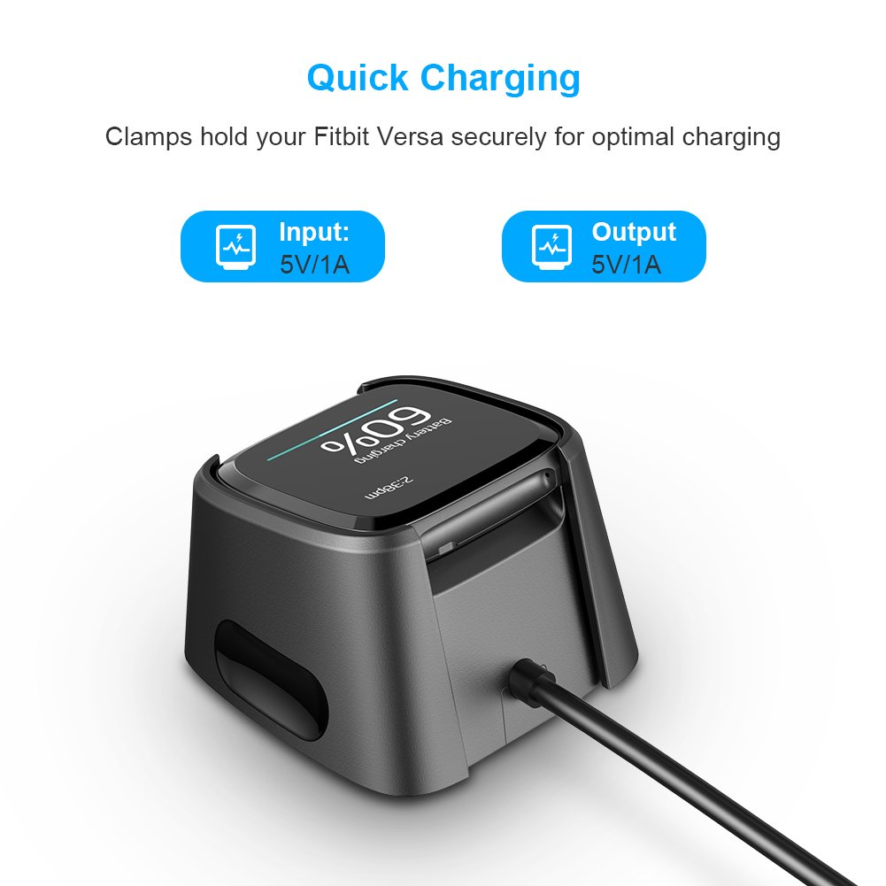 for Fitbit Versa Charger,Hagibis Replacement USB Charging Cable Dock for New Fitbit Versa Smartwatch (2 Pack) by Hagibis (Image #2)