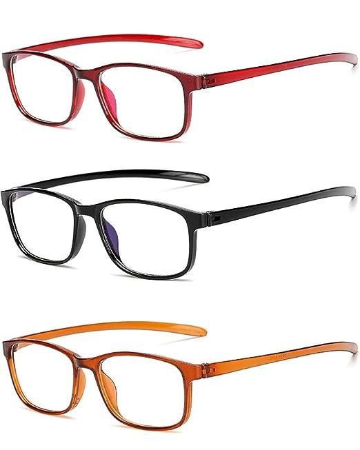 8a4835a03f VEVESMUNDO Gafas de Letura Hombre Mujer Clásico Modernas Flexibles  Irrompibles Vista Presbicia Graduadas Lejos Anteojos 1.0