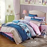 100% Cotton Bedding for Kids Cartoon Bedding Set Cat Printed Duvet Cover Set,Duvet Cover and Pillowcases and Bed Skirt without Comforter,4 Piece (King,#1)