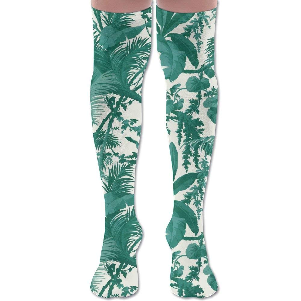 Green Fujimori Leaves Unisex Knee High Long Socks Stockings Dress Athletic Soccer Socks Elasticity