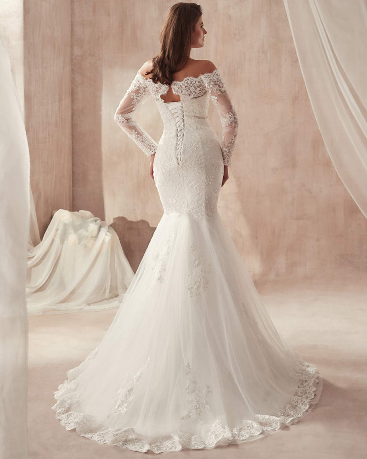 2018 Lace Mermaid Wedding Dresses Applique Beaded Long Sleeves Wedding Gowns White Us6,Pretty Black Dresses For A Wedding