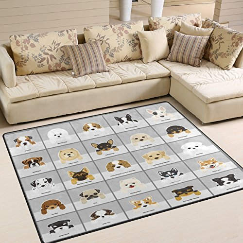 Puppy Rug - ALAZA Dog Pug Puppy Chihuahua Area Rug Rugs for Living Room Bedroom 5'3 x 4'
