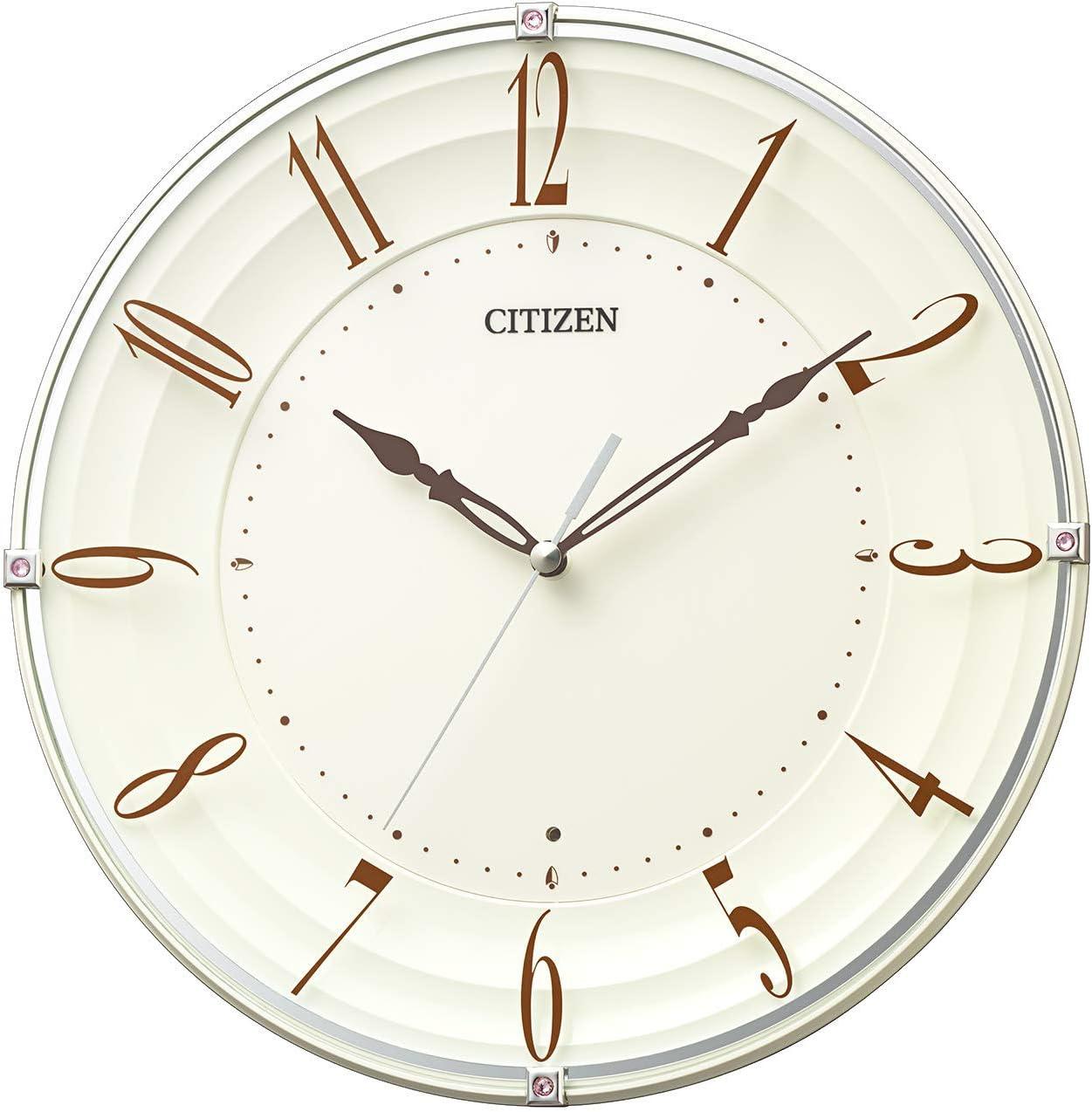 リズム時計工業(Rhythm) 掛け時計 ベージュ 28x4.8cm シチズン CITIZEN 電波時計 連続秒針 インテリア 8MY556-006