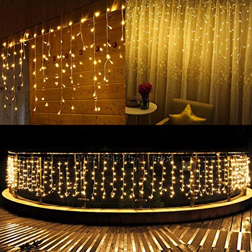 FTON LED Icicle Lights, 13ft 96 LED Fairy String Lights Plug in Extendable Curtain Christmas String Lights 8 Modes Decorative Rope String Xmas Wave Twinkle Light (4M 96LED, Warm White) ()