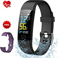 Semaco Fitness Tracker, Colour Screen Activity Tracker Waterproof Heart Rate Monitor with Pedometer Sleep Monitor Step Calorie Counter Smartwatch for Kids Men Women (Black+purple)