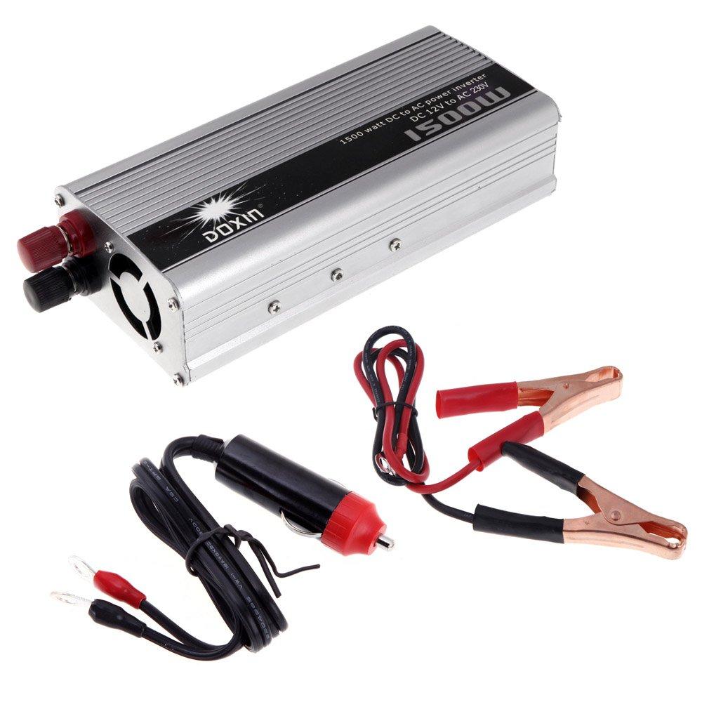 Kkmoon 1500W WATT DC 12V to AC 230V Portable Car Power Inverter Charger Converter Transformer