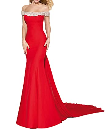 BONBETE Party Dress Sexy Off the Shoulder Crystal Red Mermaid Evening Dresses Prom Gown