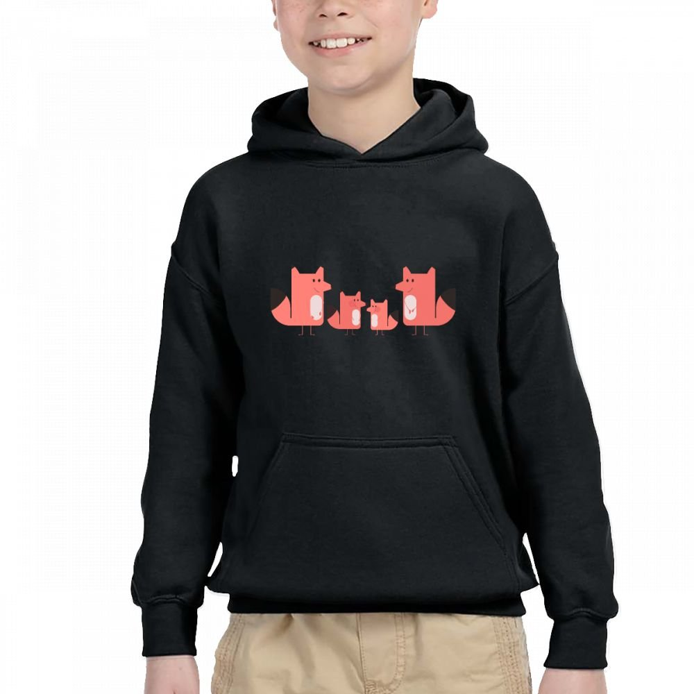 The Fox Family Customization Hooded Pocket Sweater for Children Spring//Autumn//Winter Outfit Long-Sleeved Hoodie