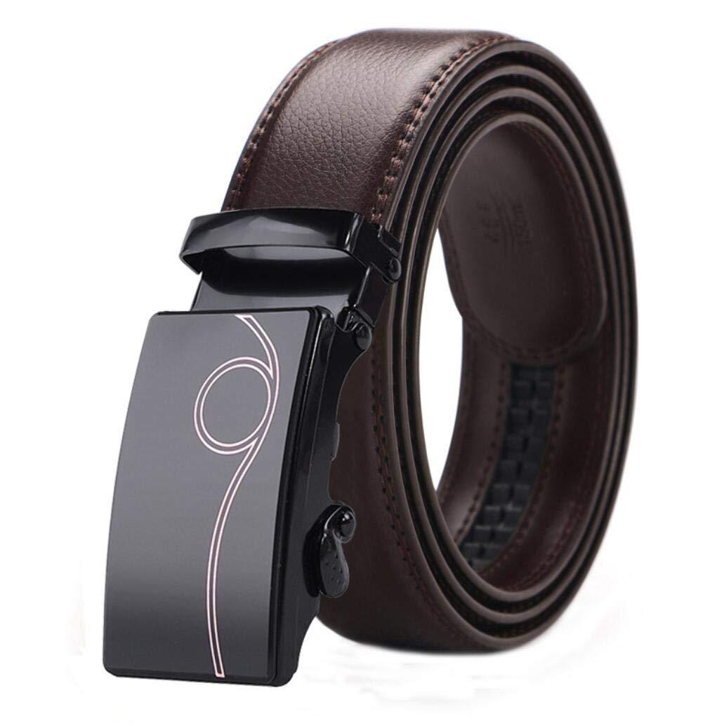 Wide Fully Adjustable with Automatic Sliding Buckle, Mens Leather Belt Leather Ratchet Belt for Men Dress 3.5cm
