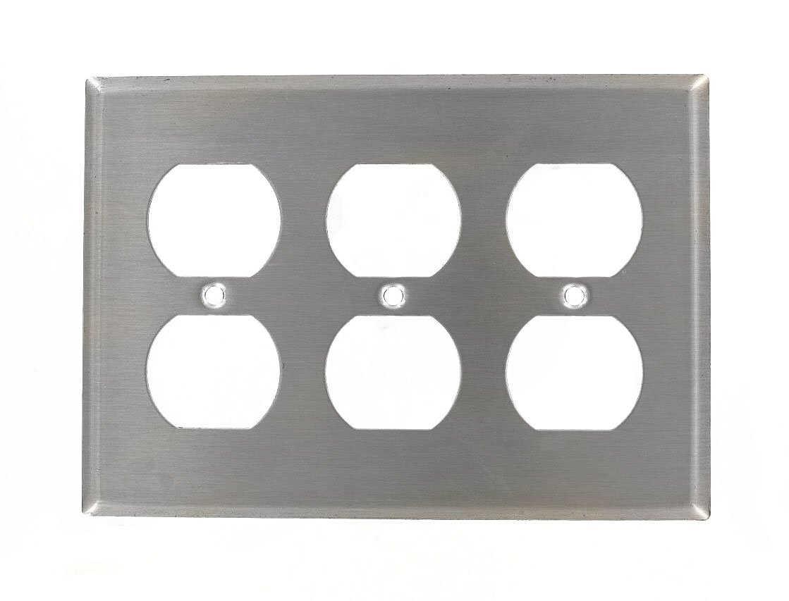 Leviton 84030-40 3-Gang Duplex Device Receptacle Wallplate, Device Mount, Stainless Steel