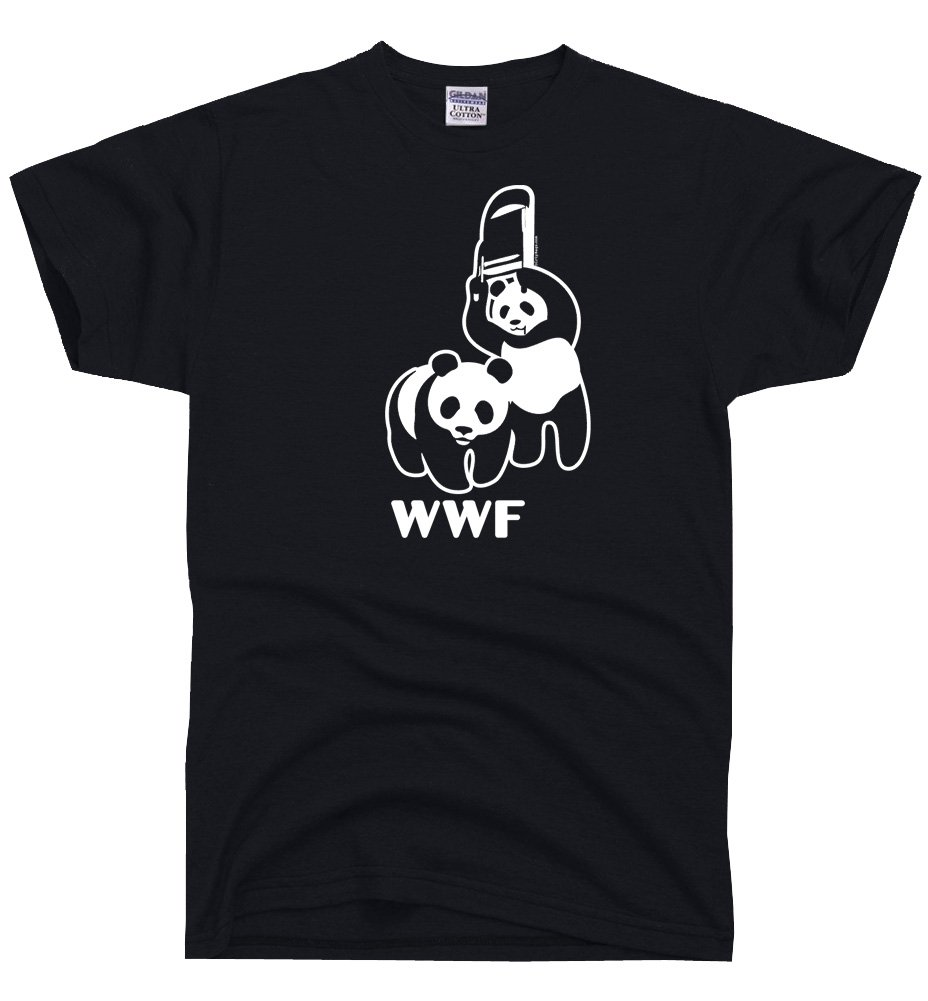 DirtyRagz Men's WWF Funny Panda Bear Wrestling T Shirt L Black by DirtyRagz