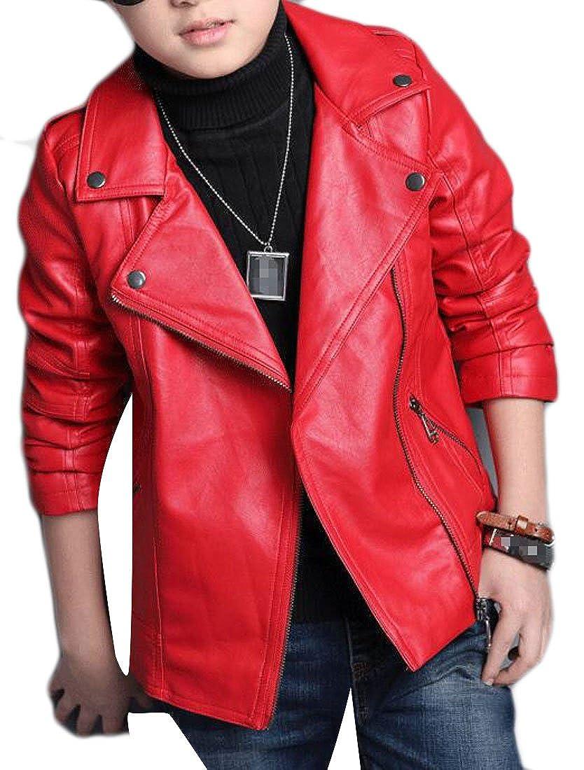XQS Boys' Classic Faux Leather Lapel Zip-Front Moto Biker Jackets