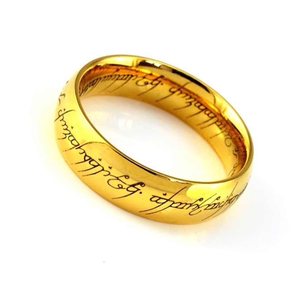 Unisex Tungsten Carbide Ring Gold Plated Band Lords of the Rings Laser Elvish Script 7mm 8mm