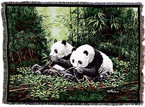 - Pure Country Weavers | Panda Bear Woven Tapestry Throw Blanket Cotton with Fringe Cotton USA 72x54
