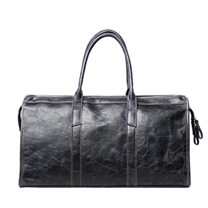 f9728c2440d6 Women and Men Real Leather Travel Bag - Weekender Vintage Overnight Duffel  Bag - Large Premium Quality Gym Bag Duffle Bag Sports Bag Overnight - Navy  Blue ...