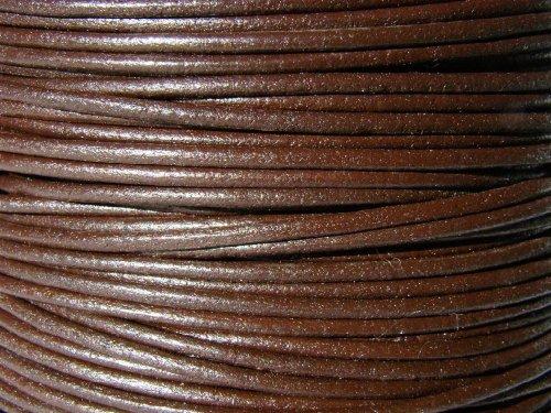 Lederband, Lederschnur, Lederriemen 5 m. Rund 2,0 mm. Braun