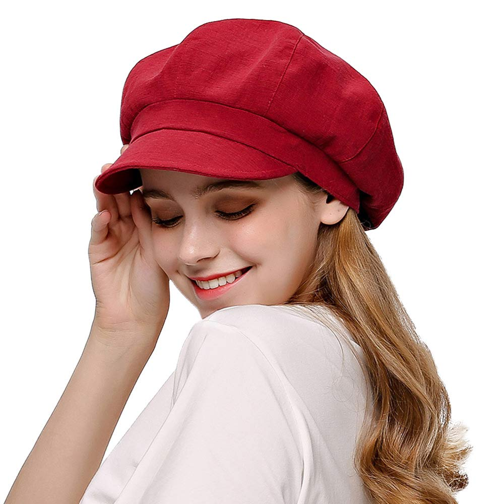 F FADVES Ladies Summer Newsboy Visor Beret Sun Hat Baker Boy Cabbie Ivy Cap Classic Wine Red