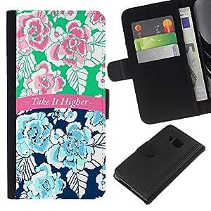 A-type (It Higher 420 Blue Pink Text Floral) Colorida Impresión Funda Cuero Monedero Caja Bolsa Cubierta Caja Piel Card Slots Para HTC One M9