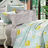 Essina Carlo Collection, 100% Cotton 620 thread count 3pc Reversible Duvet Cover Set, Pillow Sham, King, Floral Flow