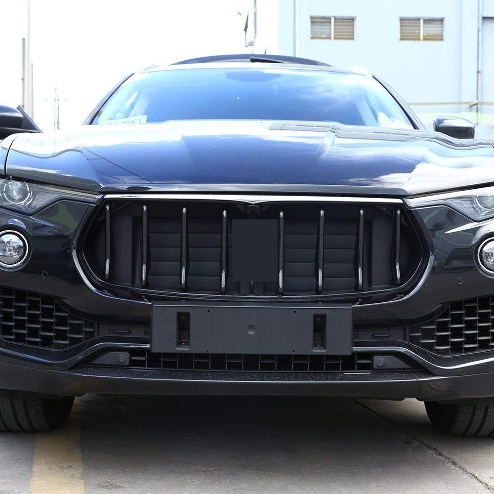 ABS Plastic Front Grill Decoration Strips Cover Trims for Maserati Levante 2016 2017 2018 carbon fiber style