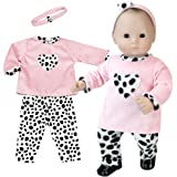 15 Inch Doll Clothing 3 Pc. Set of Pink and Dalmatian Print Fits 15 Inch American Girl Bitty Baby Dolls & More! Baby Doll Clothes Set with Dalmatian Print by Sophia's | Gift Bag Included