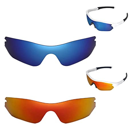 6b89537543 Image Unavailable. Image not available for. Color  Walleva Polarized Fire  Red + Ice Blue Replacement Lenses Oakley Radar Edge Sunglasses