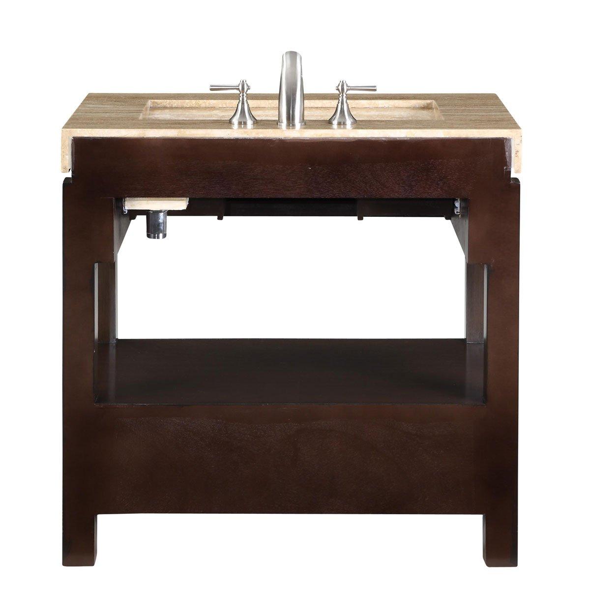 36 inch single sink bathroom vanity with built in led lighting - Amazon Com Silkroad Exclusive Dark Walnut Stone Top Single Sink Bathroom Vanity With Cabinet 36 Inch Home Kitchen