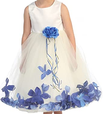 03d6adf780085 BluNight Collection Wedding Pageant Satin Flower Petal Little Flower Girls  Dresses (16KD0B) Ivory Royal