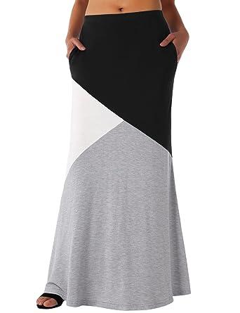 9681b1988c5d Long Skirt Elastic Waist, DJT Women's Color Block Rayon Span Stylish High  Waisted Maxi Skirt Black XL at Amazon Women's Clothing store: