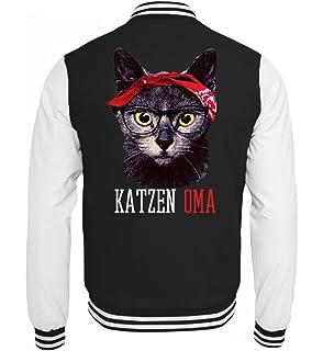 31a8f413052e6e Hochwertige College Sweatjacke - Katzen Oma Lustiges Vintage Mieze Kätzchen  mit Bandana T-Shirt Geschenk