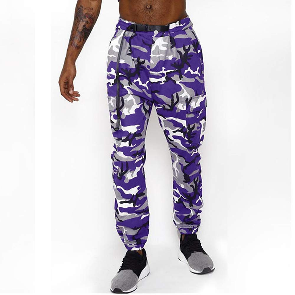 Topgee Mens Camouflage Athletic-Fit Cargo Trousers Casual Drawstring Sport Pants
