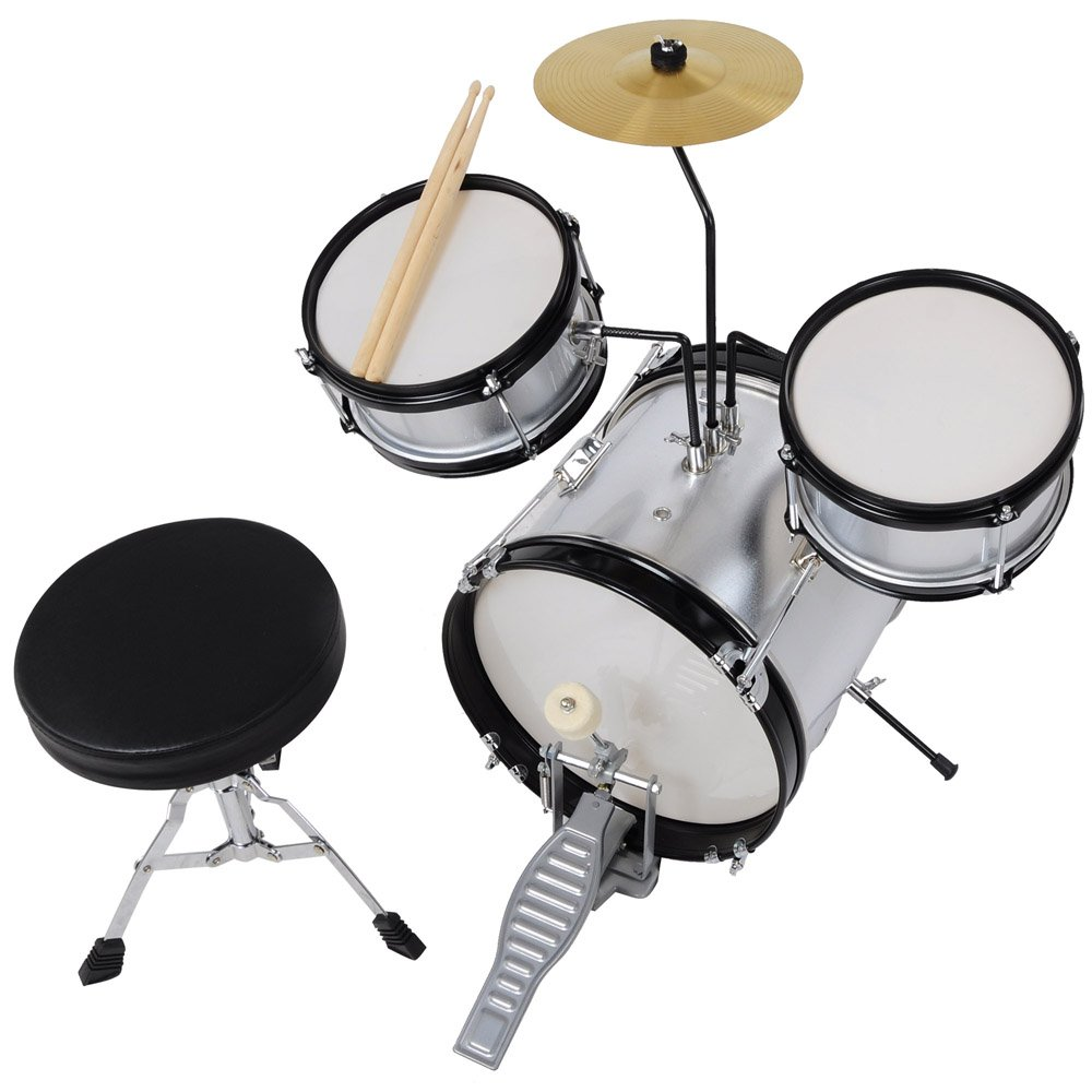 3pcs Junior Kid Children Drum Set Kit Sticks Throne Cymbal Bass Snare Boy Silver by AW