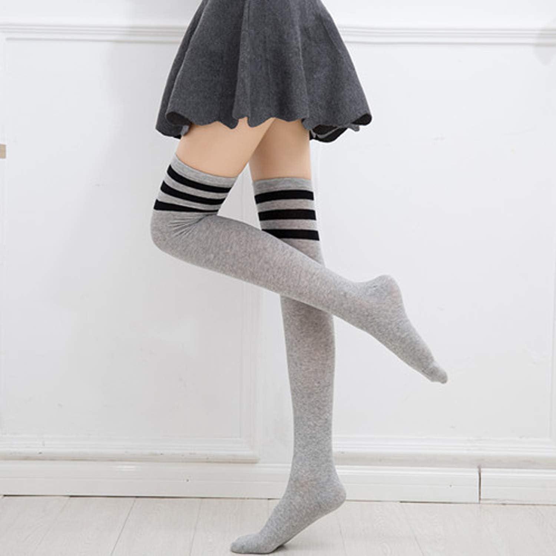 DRESHOW Kniestr/ümpfe Overknee Str/ümpfe Lange Gestreifte Socken Beinw/ärmer Schenkel Socken f/ür Damen und M/ädchen