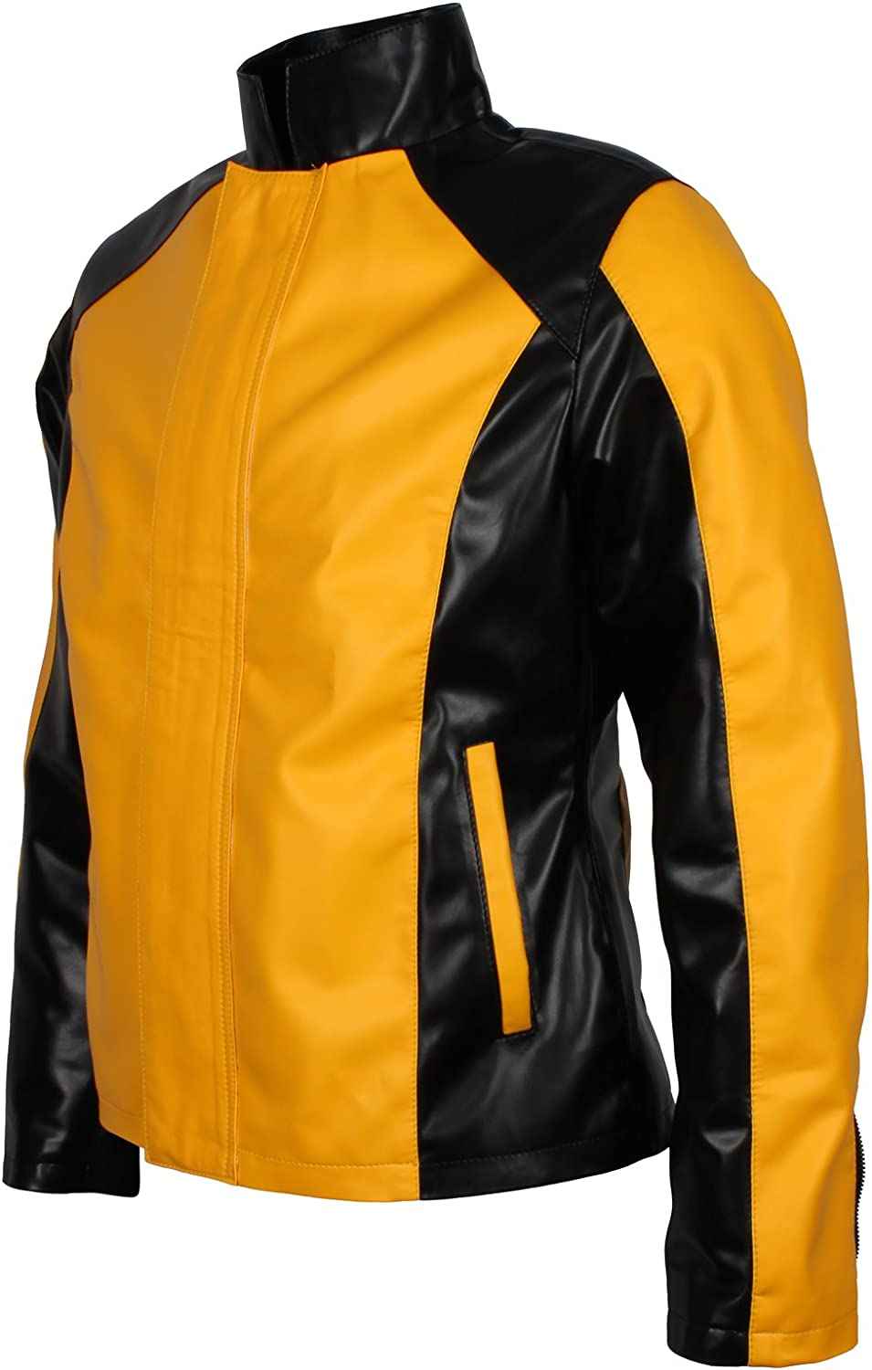 Mens Yellow /& Black Infame Gaming Faux Leather Jacket