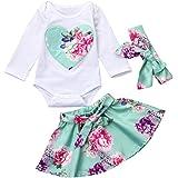 Conjunto de Ropa, Zolimx Recién Nacido Bebé Niña Floral Corazón Mameluco Tops + Falda + Diadema Trajes