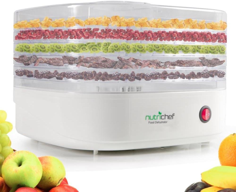 Electric Countertop Food Dehydrator Machine - Professional Multi-Tier Food Preserver, Meat or Beef Jerky Maker, Fruit / Vegetable Dryer w/ 5 Stackable Trays, High-Heat Circulation - NutriChef AZPKFD06