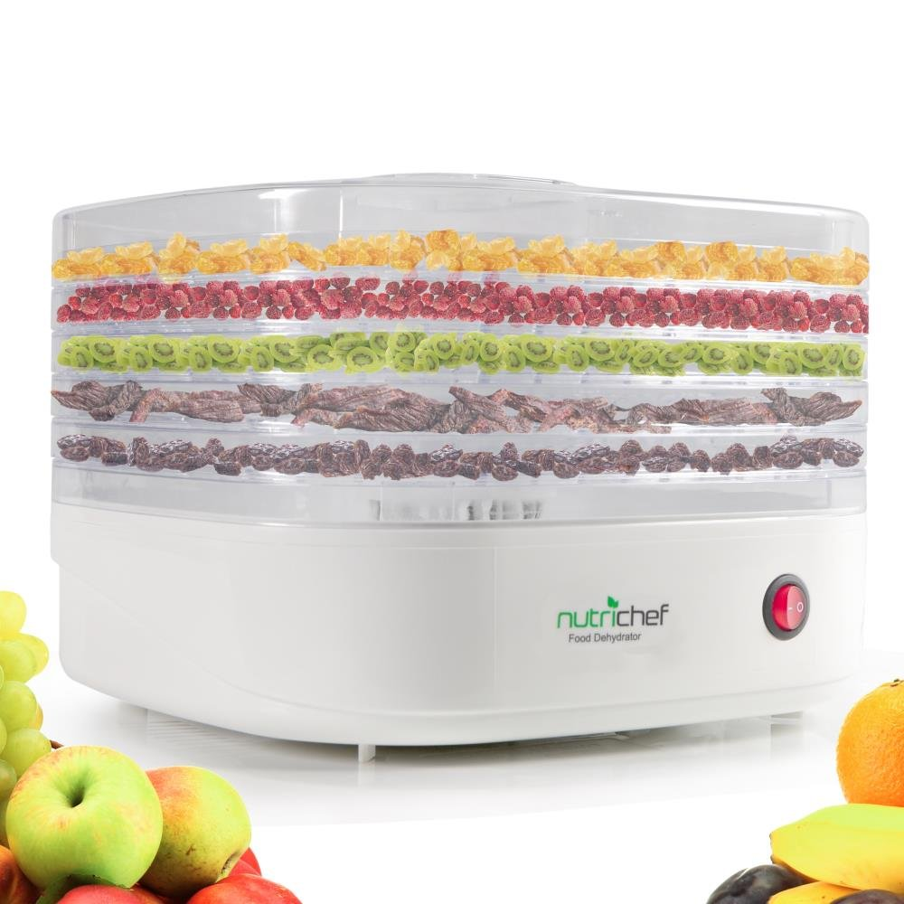 NutriChef Food Dehydrator Machine - Professional Electric Multi-Tier Food Preserver, Meat or Beef Jerky Maker, Fruit/Vegetable Dryer with 5 Stackable Trays, High-Heat Circulation - (PKFD06)