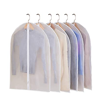8d38865d0ab3 JIESMART Hanging Garment Bag Lightweight Suit Bags Anti-Moth (Set of 6)  with Sturdy Full Zipper for Closet Storage and Travel,Clear Plastic Cover  for ...