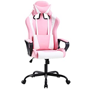 Gaming Chair Office Chair Desk Chair Ergonomic Executive Swivel Rolling Computer Chair with Lumbar Support, Pink