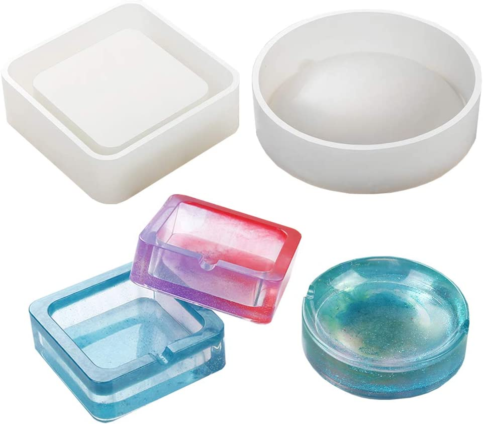 Transparent Ashtray Mold Resin Crystal Silicone Tool Making Hand Craft Mould 12U