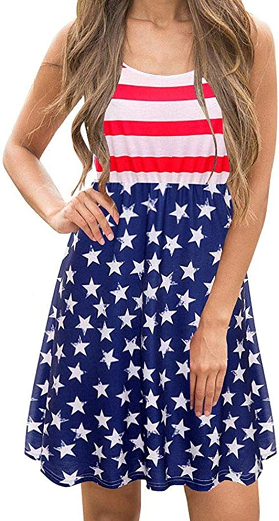 July 4th Womens Dress wodceeke Fashion American Flag Print V-neck Sleeveless Dress Casual Mini Dress Tank Sundress