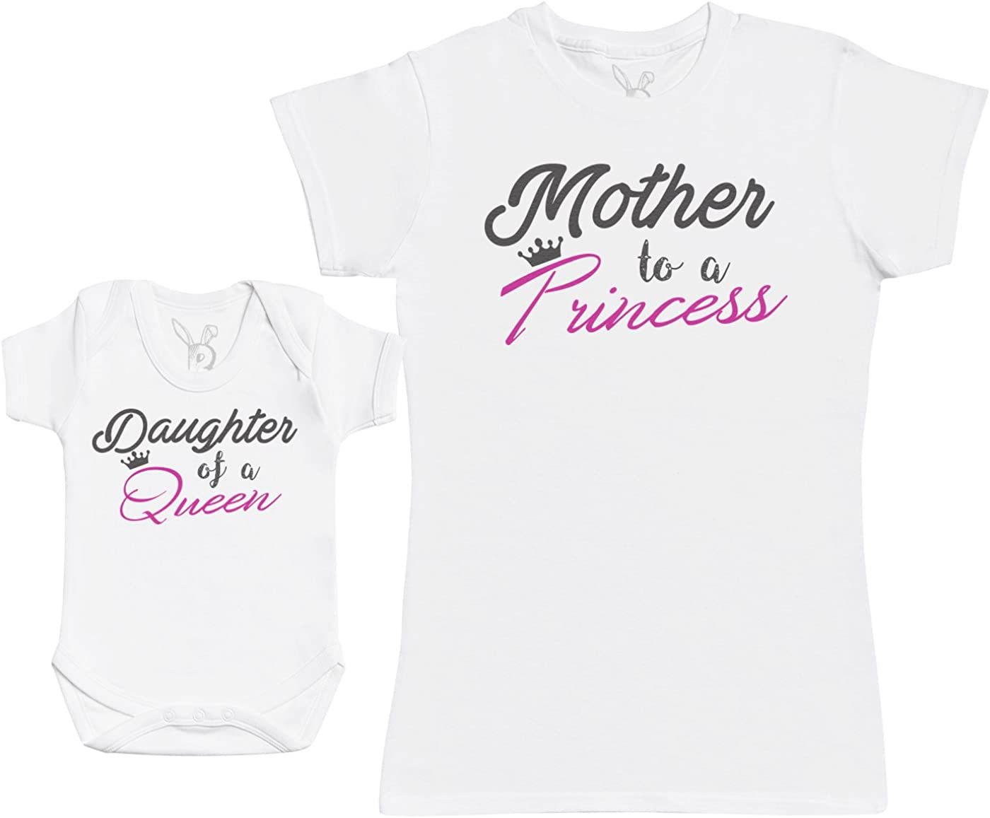 Daughter of A Queen & Mother To A Princess - Regalo para Madres y bebés en un Body para bebés y una Camiseta de Mujer a Juego - Blanco - L & 3-6 Meses