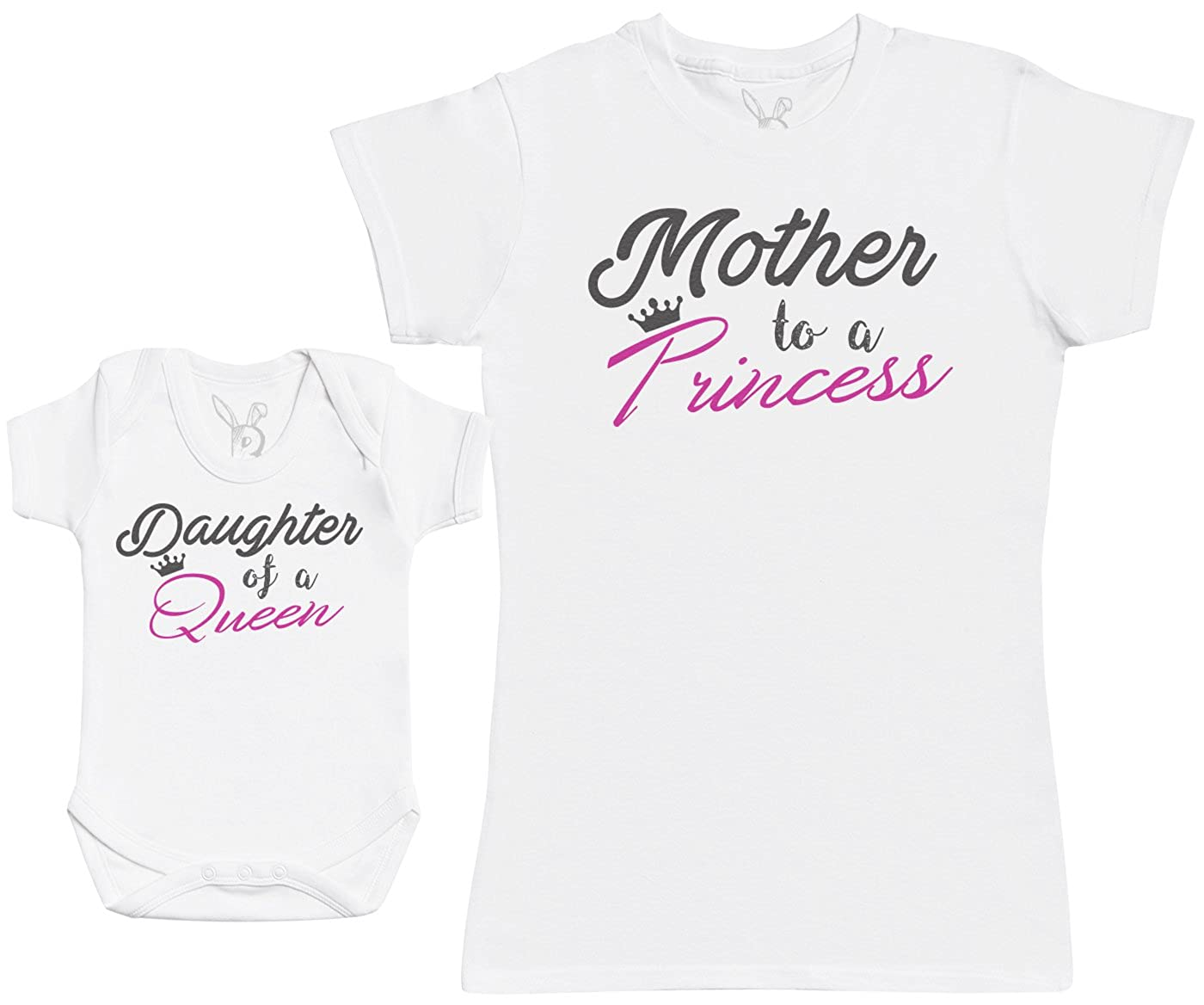 Regalo para Madres y Beb/és en un Body para Beb/és y una Camiseta de Mujer a Juego Daughter of A Queen /& Mother To A Princess