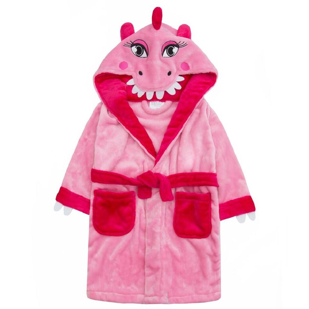 Girls Pink Dinosaur Robe With Tail Available In Ages 2 up To 6
