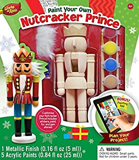 Amazon 12 unpainted blank wooden nutcracker with paint fur masterpieces works of ahhh nutcracker prince large wood paint kit solutioingenieria Image collections