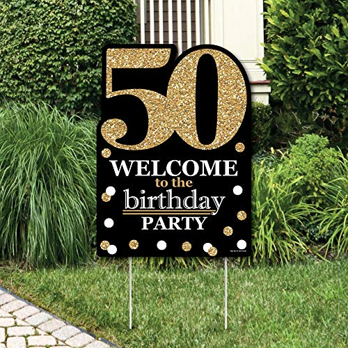 Big Dot of Happiness Adult 50th Birthday - Gold - Party Decorations - Birthday Party Welcome Yard Sign]()